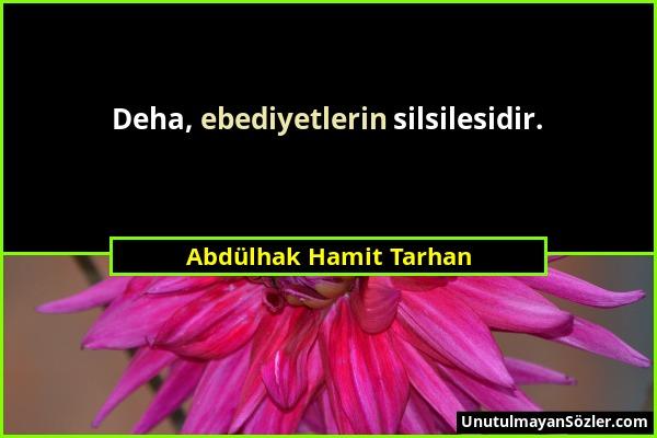 Abdülhak Hamit Tarhan - Deha, ebediyetlerin silsilesidir....