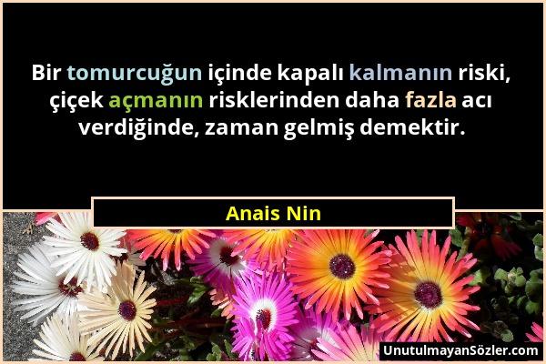 Anais Nin - Bir tomurcuğun içinde kapalı kalmanın riski, çiçek açmanın risklerinden daha fazla acı verdiğinde, zaman gelmiş demektir....