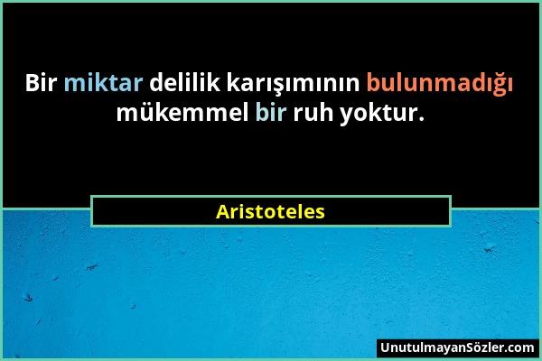 Aristoteles - Bir miktar delilik karışımının bulunmadığı mükemmel bir ruh yoktur....