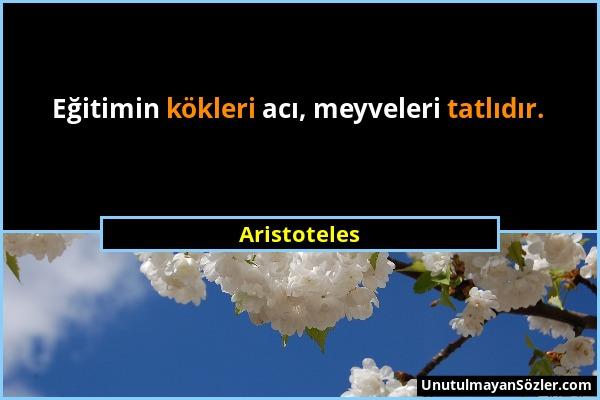 Aristoteles - Eğitimin kökleri acı, meyveleri tatlıdır....