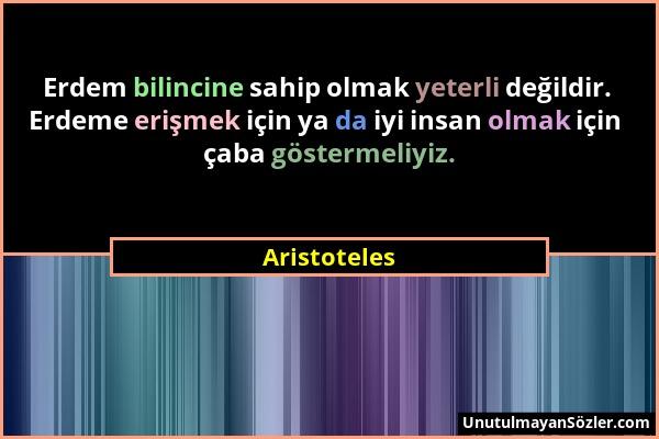 Aristoteles - Erdem bilincine sahip olmak yeterli değildir. Erdeme erişmek için ya da iyi insan olmak için çaba göstermeliyiz....