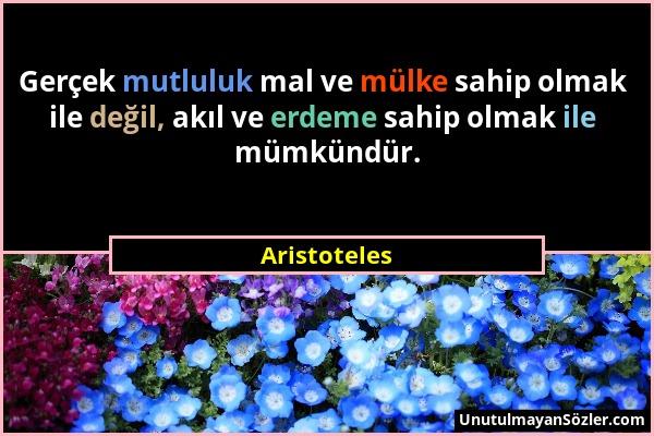 Aristoteles - Gerçek mutluluk mal ve mülke sahip olmak ile değil, akıl ve erdeme sahip olmak ile mümkündür....