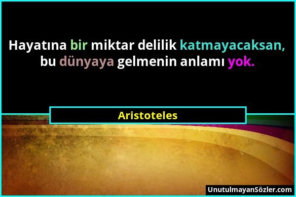 Aristoteles - Hayatına bir miktar delilik katmayacaksan, bu dünyaya gelmenin anlamı yok....
