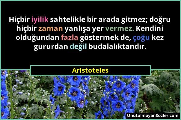 Aristoteles - Hiçbir iyilik sahtelikle bir arada gitmez; doğru hiçbir zaman yanlışa yer vermez. Kendini olduğundan fazla göstermek de, çoğu kez gururd...