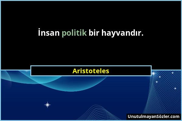 Aristoteles - İnsan politik bir hayvandır....