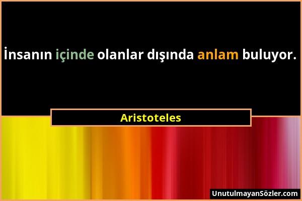 Aristoteles - İnsanın içinde olanlar dışında anlam buluyor....