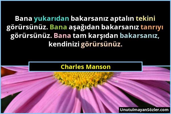 Charles Manson - Bana yukarıdan bakarsanız aptalın tekini görürsünüz. Bana aşağıdan bakarsanız tanrıyı görürsünüz. Bana tam karşıdan bakarsanız, kendi...