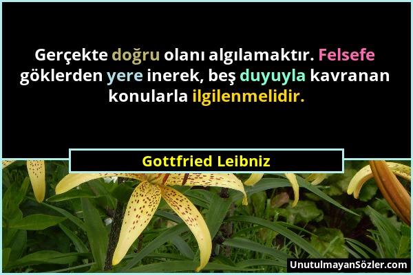 Gottfried Leibniz - Gerçekte doğru olanı algılamaktır. Felsefe göklerden yere inerek, beş duyuyla kavranan konularla ilgilenmelidir....
