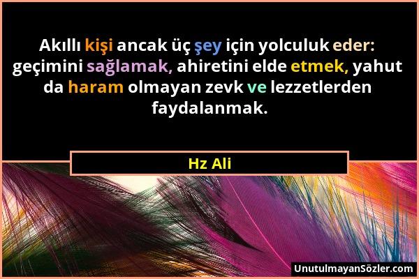 Hz Ali - Akıllı kişi ancak üç şey için yolculuk eder: geçimini sağlamak, ahiretini elde etmek, yahut da haram olmayan zevk ve lezzetlerden faydalanmak...