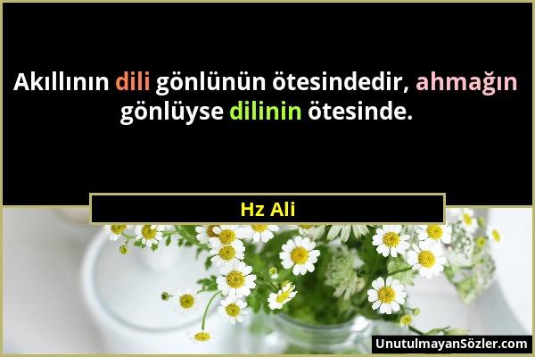 Hz Ali - Akıllının dili gönlünün ötesindedir, ahmağın gönlüyse dilinin ötesinde....