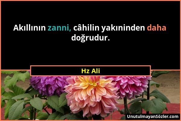 Hz Ali - Akıllının zanni, câhilin yakıninden daha doğrudur....