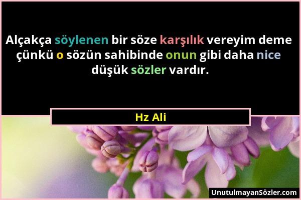 Hz Ali - Alçakça söylenen bir söze karşılık vereyim deme çünkü o sözün sahibinde onun gibi daha nice düşük sözler vardır....