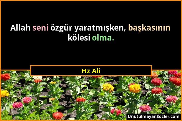 Hz Ali - Allah seni özgür yaratmışken, başkasının kölesi olma....