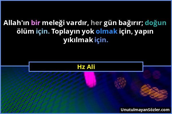 Hz Ali - Allah'ın bir meleği vardır, her gün bağırır; doğun ölüm için. Toplayın yok olmak için, yapın yıkılmak için....