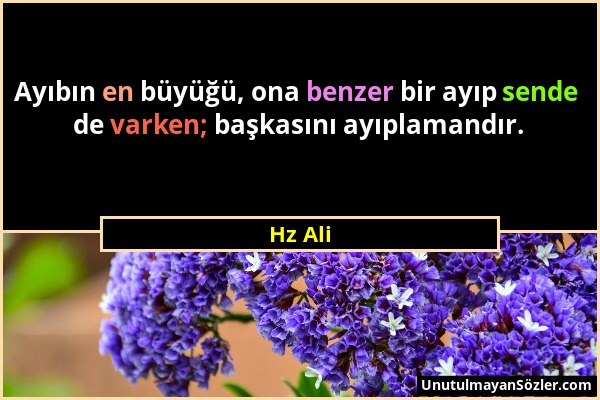 Hz Ali - Ayıbın en büyüğü, ona benzer bir ayıp sende de varken; başkasını ayıplamandır....