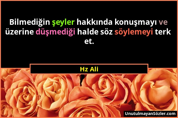 Hz Ali - Bilmediğin şeyler hakkında konuşmayı ve üzerine düşmediği halde söz söylemeyi terk et....