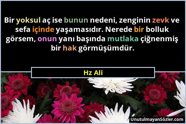 Hz Ali - Bir yoksul aç ise bunun nedeni, zenginin zevk ve sefa içinde yaşamasıdır. Nerede bir bolluk görsem, onun yanı başında mutlaka çiğnenmiş bir h...