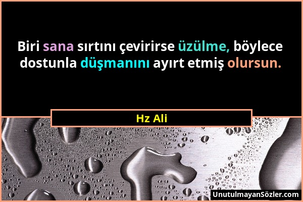 Hz Ali - Biri sana sırtını çevirirse üzülme, böylece dostunla düşmanını ayırt etmiş olursun....