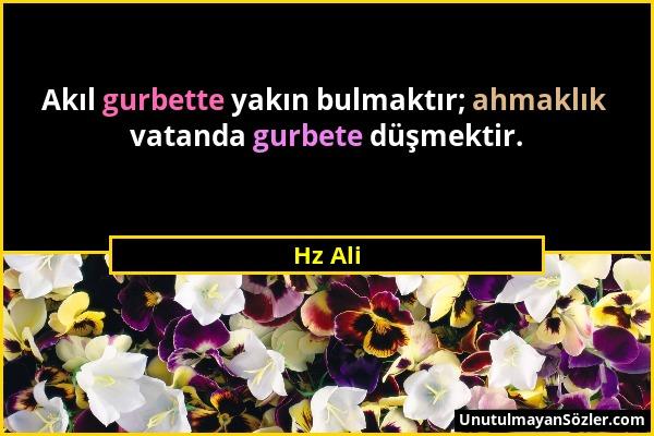 Hz Ali - Akıl gurbette yakın bulmaktır; ahmaklık vatanda gurbete düşmektir....
