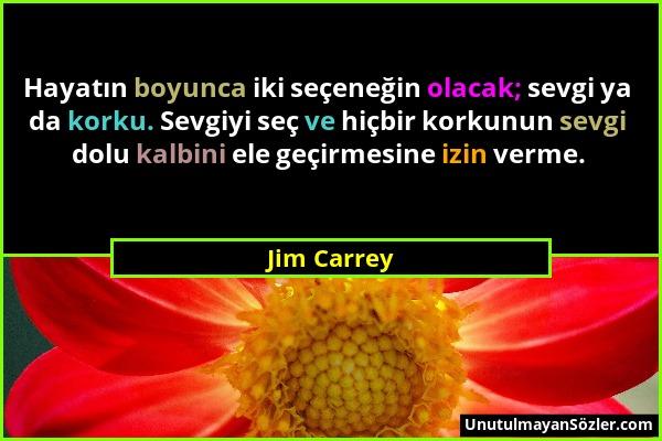 Jim Carrey - Hayatın boyunca iki seçeneğin olacak; sevgi ya da korku. Sevgiyi seç ve hiçbir korkunun sevgi dolu kalbini ele geçirmesine izin verme....