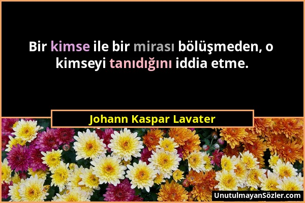 Johann Kaspar Lavater - Bir kimse ile bir mirası bölüşmeden, o kimseyi tanıdığını iddia etme....