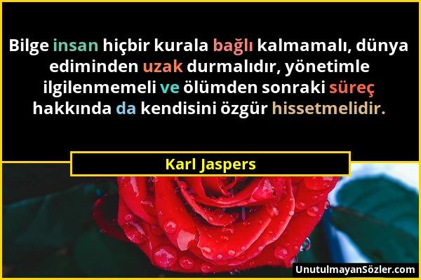 Karl Jaspers - Bilge insan hiçbir kurala bağlı kalmamalı, dünya ediminden uzak durmalıdır, yönetimle ilgilenmemeli ve ölümden sonraki süreç hakkında d...