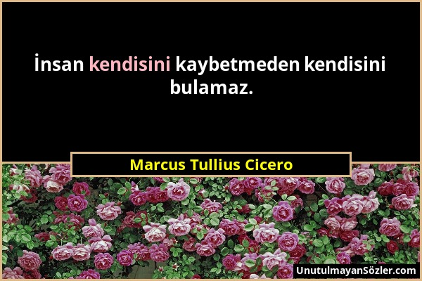 Marcus Tullius Cicero - İnsan kendisini kaybetmeden kendisini bulamaz....