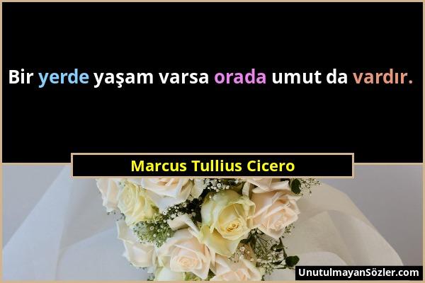 Marcus Tullius Cicero - Bir yerde yaşam varsa orada umut da vardır....