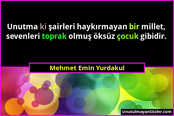 Mehmet Emin Yurdakul Sözü 1