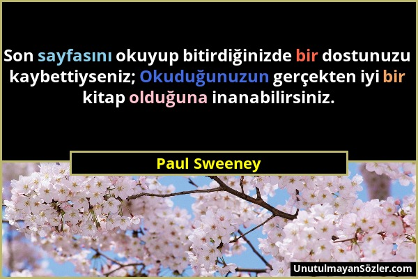Paul Sweeney - Son sayfasını okuyup bitirdiğinizde bir dostunuzu kaybettiyseniz; Okuduğunuzun gerçekten iyi bir kitap olduğuna inanabilirsiniz....