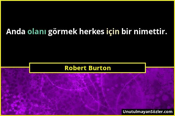 Robert Burton - Anda olanı görmek herkes için bir nimettir....
