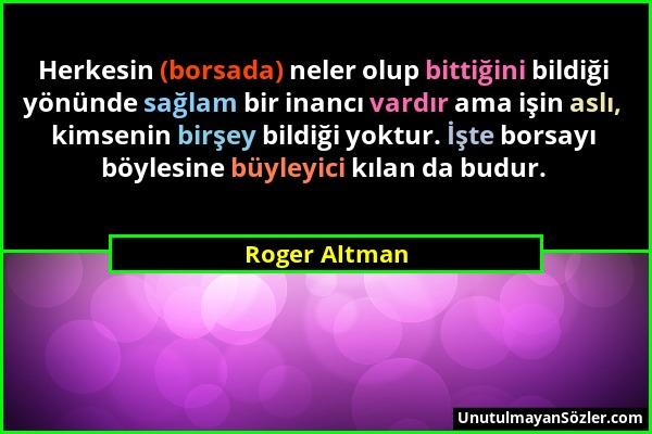 Roger Altman Sözü 1