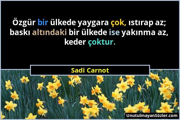 Sadi Carnot - Özgür bir ülkede yaygara çok, ıstırap az; baskı altındaki bir ülkede ise yakınma az, keder çoktur....