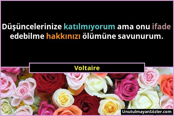 Voltaire - Düşüncelerinize katılmıyorum ama onu ifade edebilme hakkınızı ölümüne savunurum....