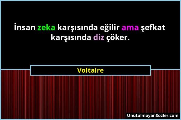 Voltaire - İnsan zeka karşısında eğilir ama şefkat karşısında diz çöker....