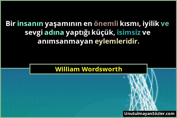 William Wordsworth Sözü 2